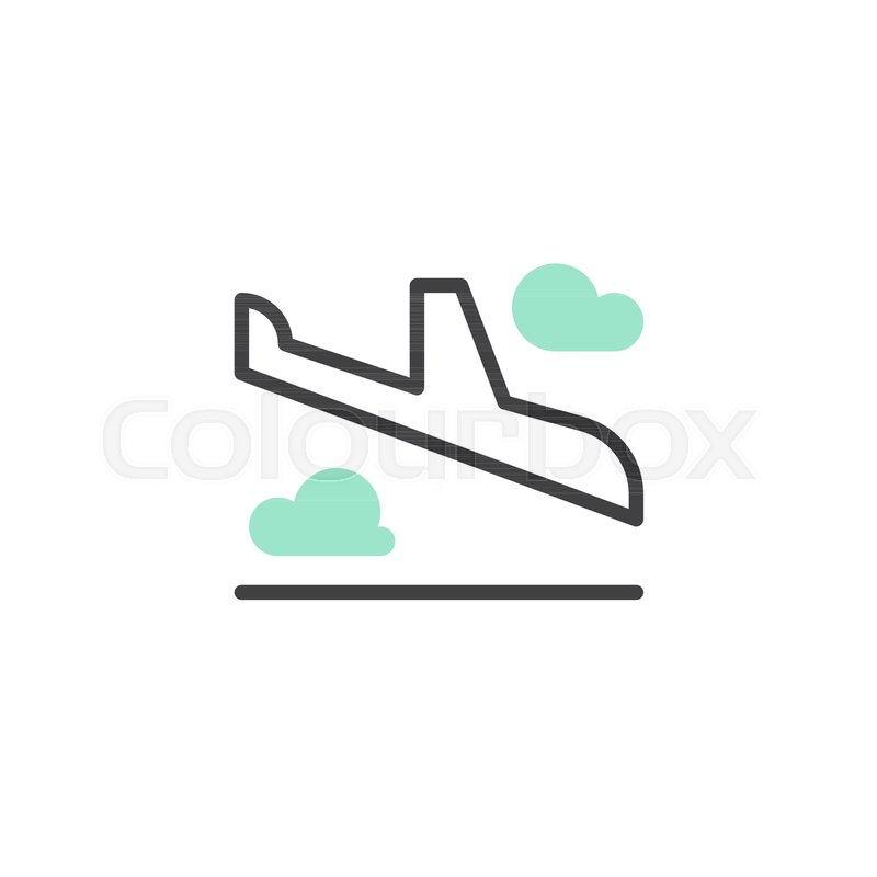 800x800 Landing Plane Icon Vector, Linear Flat Sign, Bicolor Pictogram