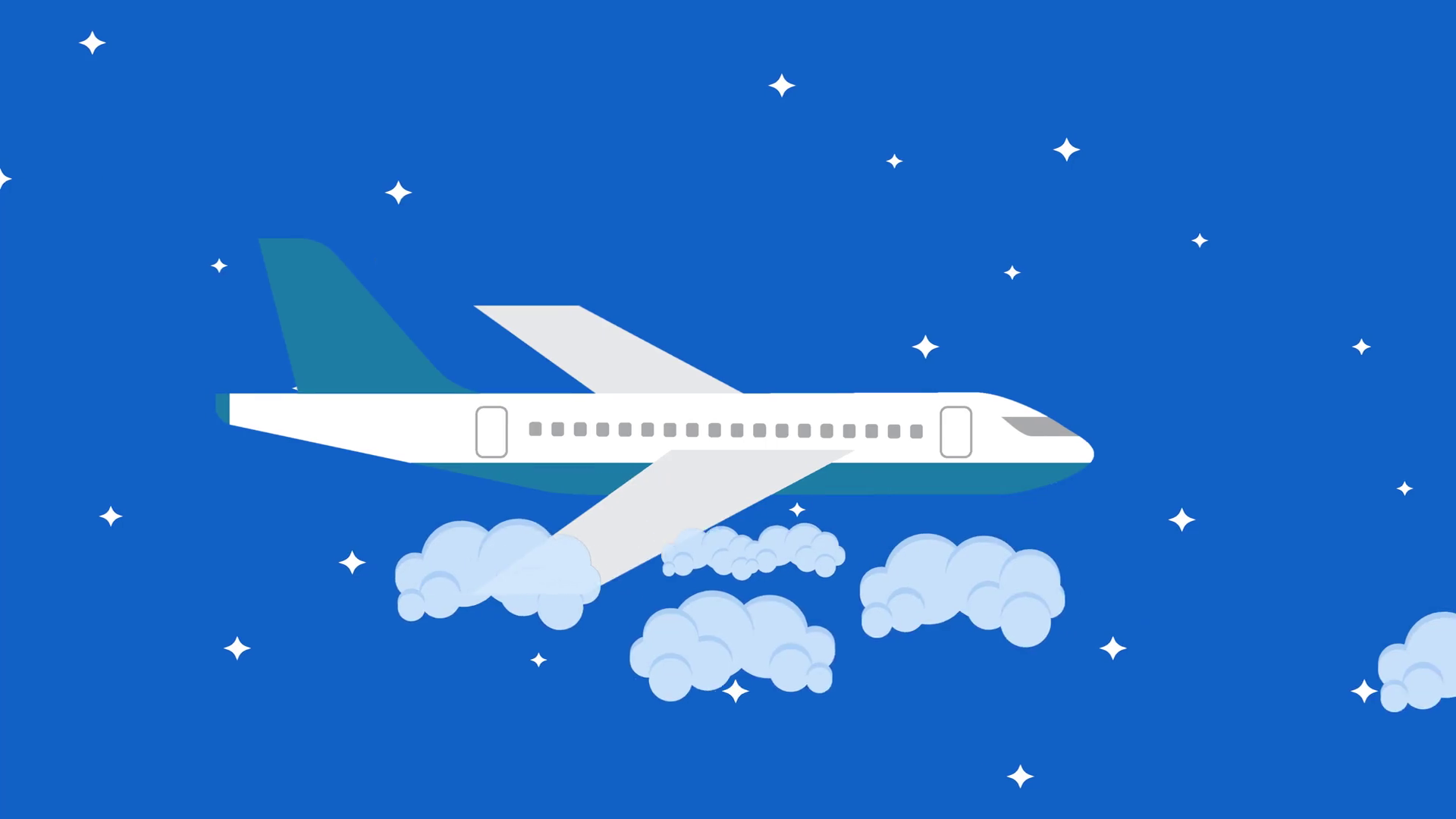 1920x1080 Vector Plane Flying In The Night Sky Between The Clouds Motion