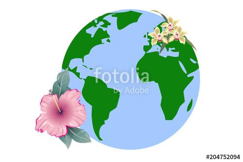 500x334 Planeta Tierra Rodeado De Flores. Stock Image And Royalty Free