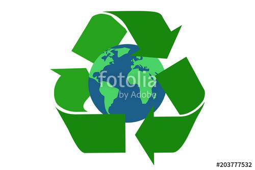 500x334 Planeta Tierra Rodeado Del De Reciclaje. Stock Image And