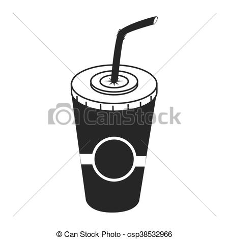 450x470 Drink On Plastic Cup, Vector Illustration Icon. Drink On Plastic