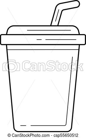 292x470 Plastic Cup Of Soda Pop Vector Line Icon. Plastic Cup Of Soda Pop