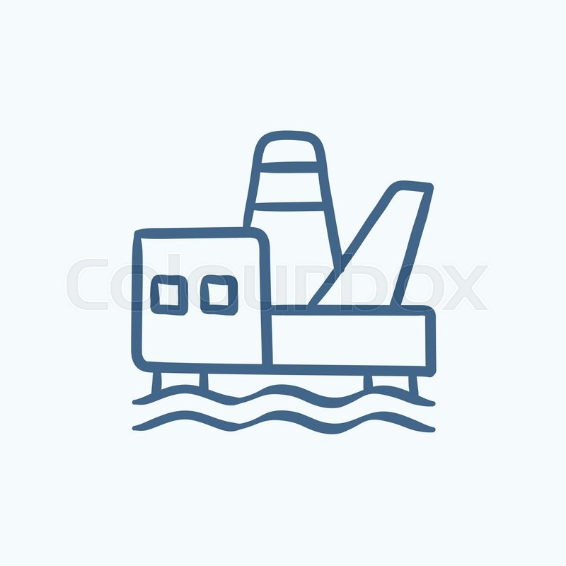 800x800 Offshore Oil Platform Vector Sketch Icon Isolated On Background