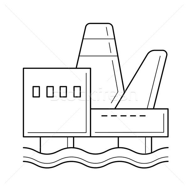 600x600 Offshore Platform Vector Line Icon. Vector Illustration Andrei