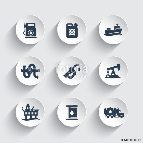 500x500 Petroleum Industry Icons Set, Gas Station, Petrol Canister
