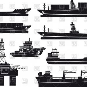300x300 Silhouettes Of Cargo Vessels Tugboat And Oil Platform Vector