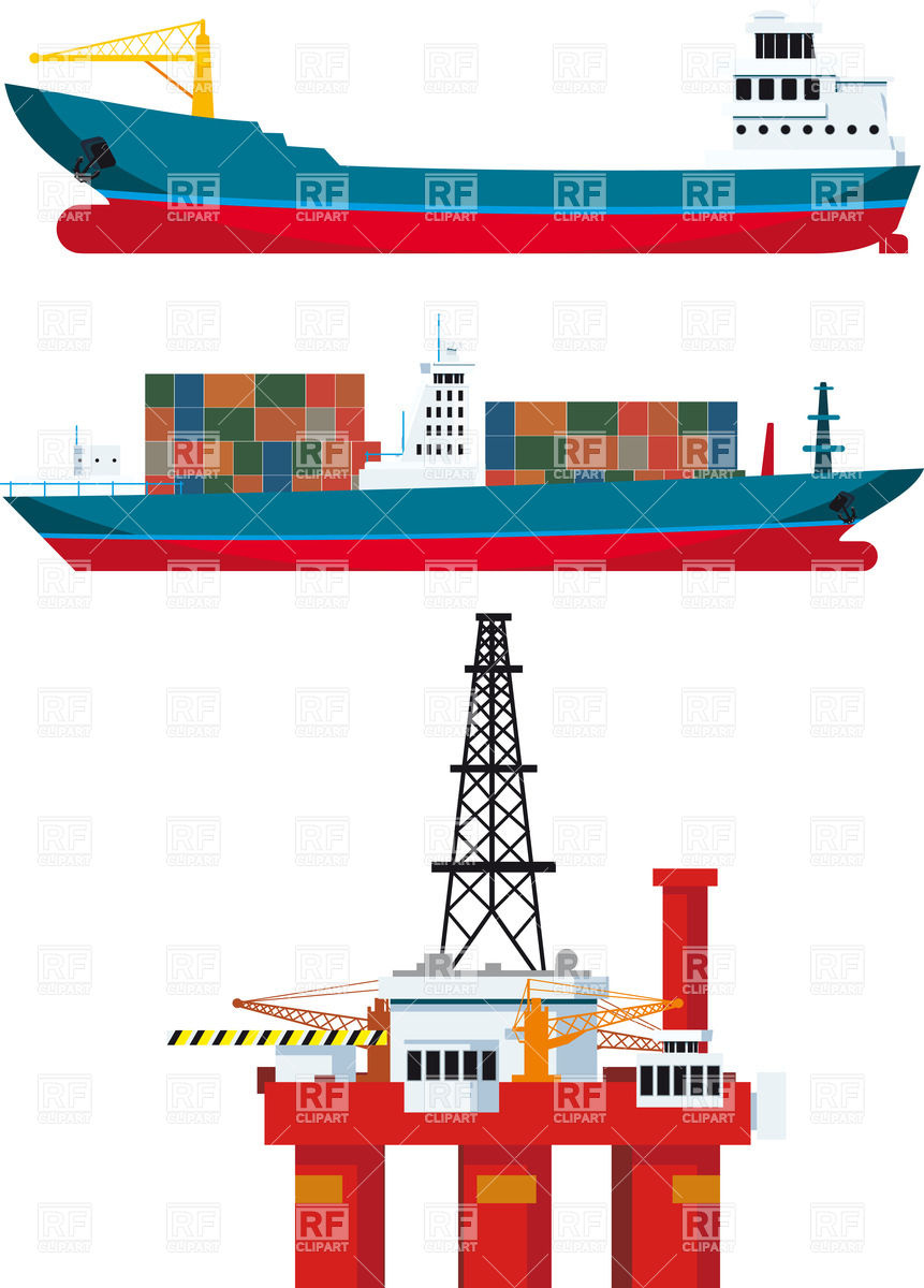 861x1200 Cargo Ships With Containers And Sea Oil Platform Vector Image