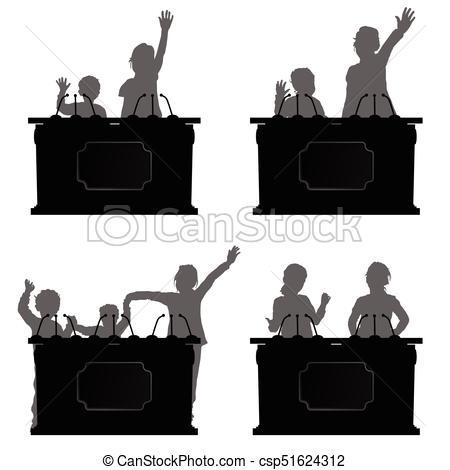 450x470 Children Silhouette Speak On Platform Illustration. Children
