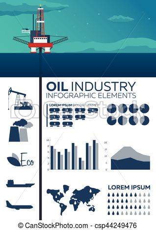 318x470 Infographic Elements Of Oil Industry. Sea. Oil Platform. Vector