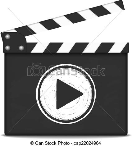 425x470 Clapper Board With Play Button. Clapper Board With Play Button