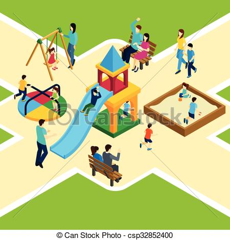 450x470 Isometric Kids Playground. Isometric Kids Playground With Happy