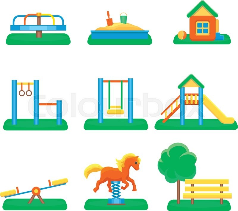 800x708 Kids Playground Set. Icons With Kids Swings And Objects. Slide And