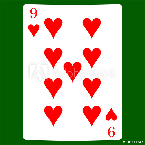 500x500 Nine Hearts. Card Suit Icon Vector, Playing Cards Symbols Vector