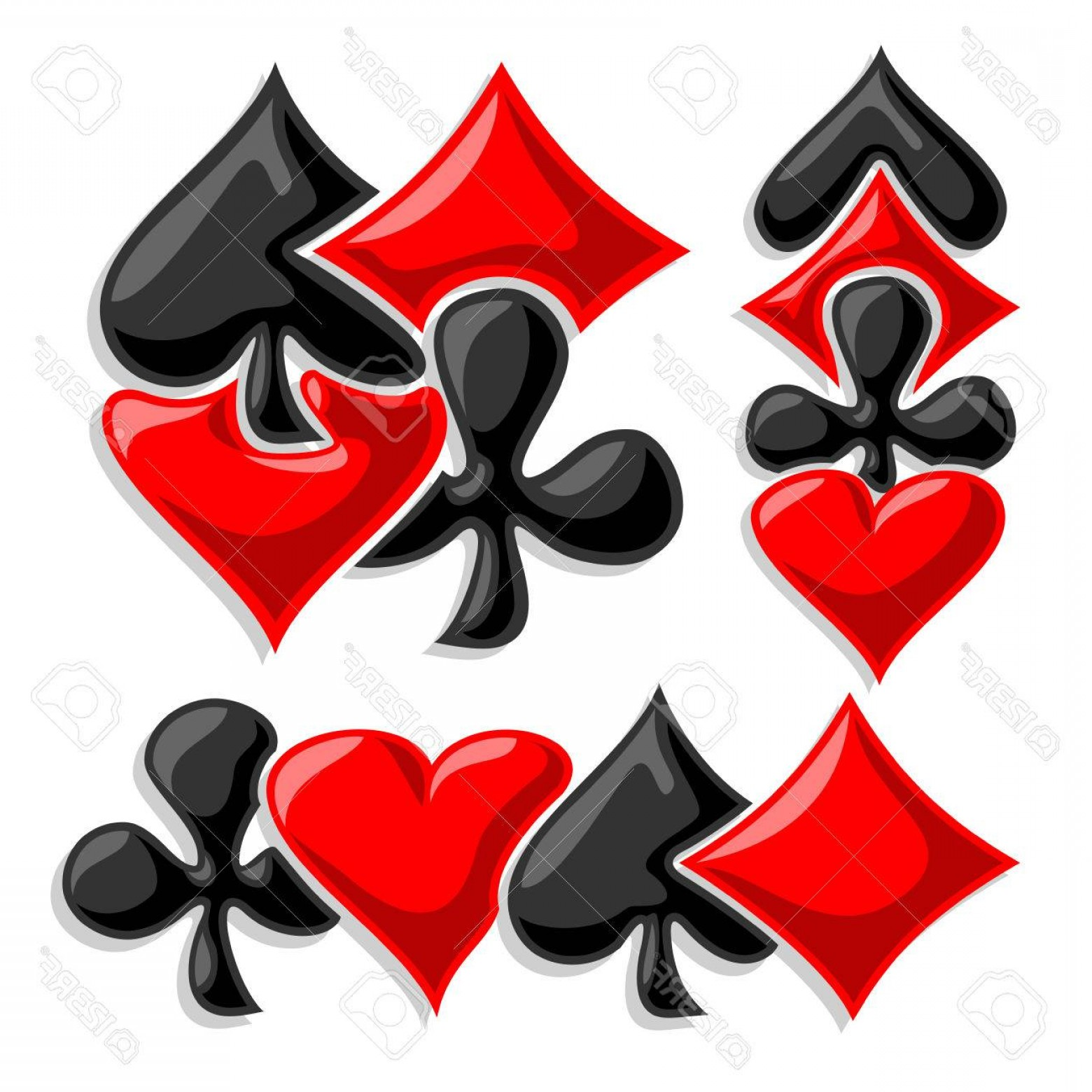 1560x1560 Photostock Vector Vector Cards Suits Three Abstract Set Gamble
