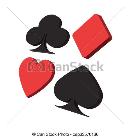 450x470 Playing Card Suit In Black And Red Cartoon Icon On A White Background.