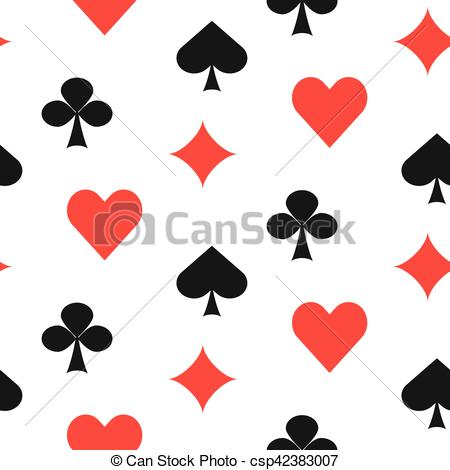 450x470 Playing Card Suits Seamless Pattern. Bold Game Card Symbols Vector