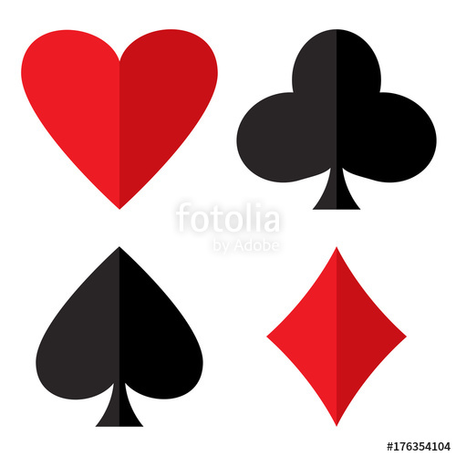 500x500 Casino Gambling Theme. Set Of Playing Card Suits. Poker Card Suits