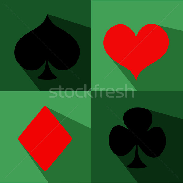 600x600 Vector Playing Card Suit Icon Symbol Set Vector Illustration