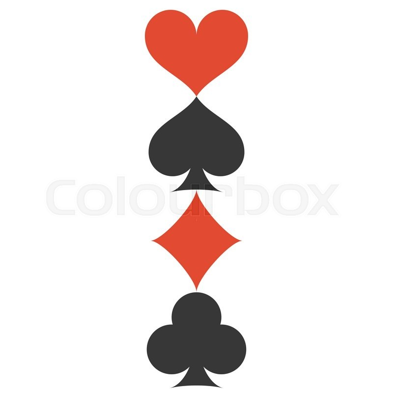 800x800 Vertical Vector Four Playing Cards Suits Symbols, Spades, Hearts