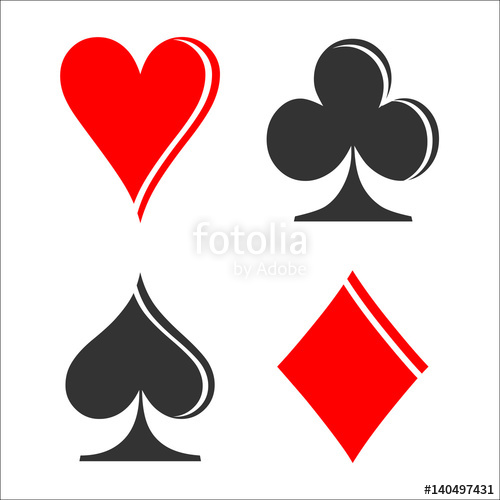 500x500 Checkerboard Card Suit Icon Vector, Playing Cards Symbols Vector