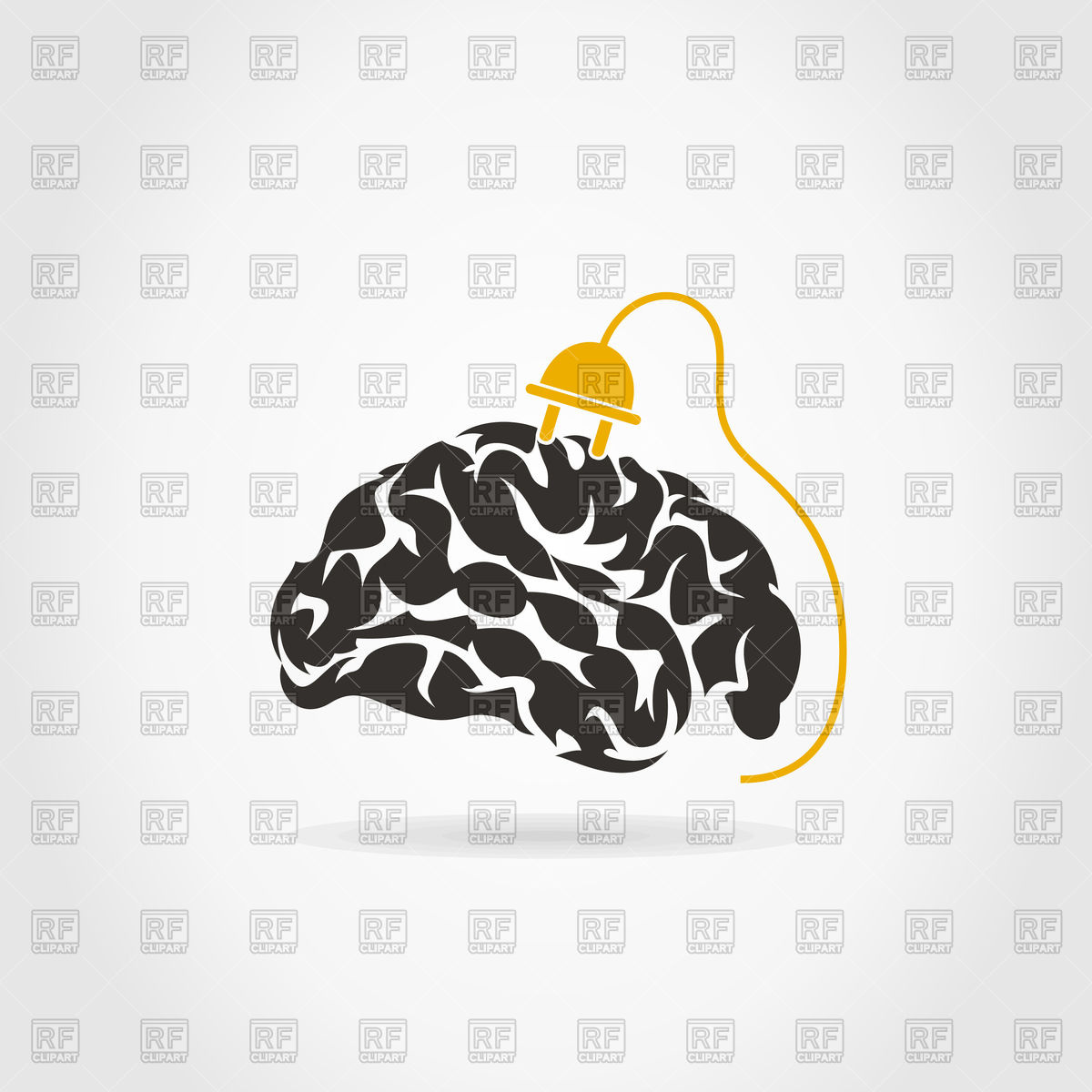1200x1200 Brain And Plug Vector Image Vector Artwork Of Icons And Emblems