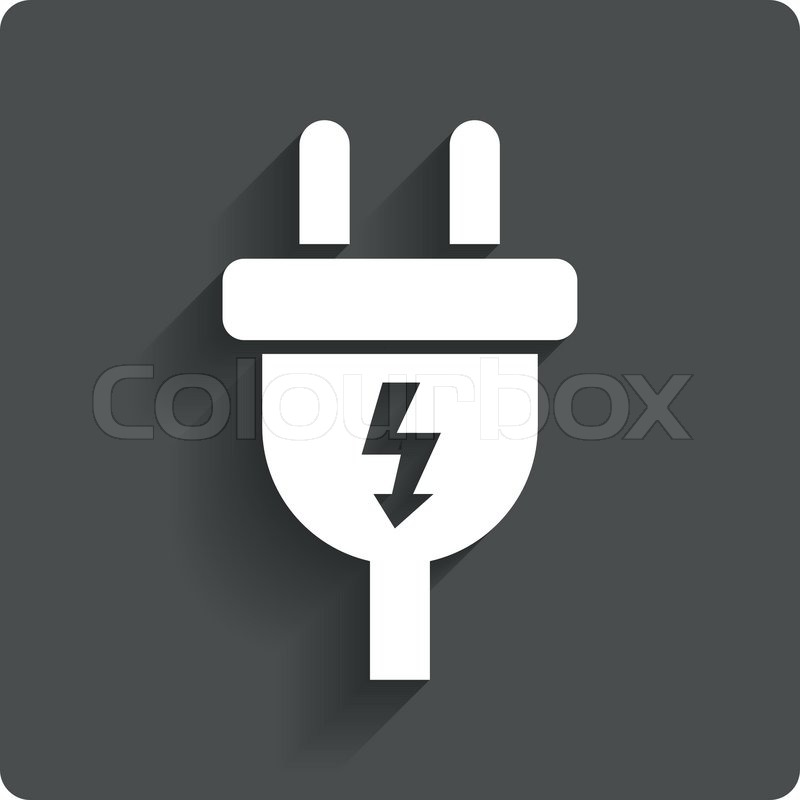 800x800 Electric Plug Sign Icon. Power Energy Symbol. Lightning Sign. Gray