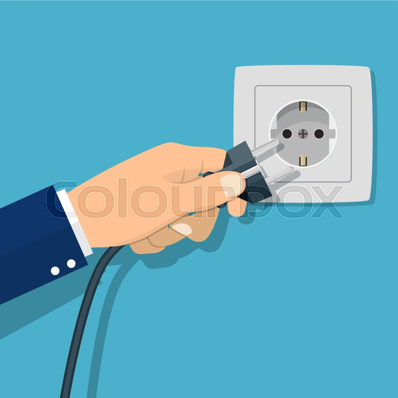 800x800 Hand Connecting Electrical Plug. Vector Illustration In Flat