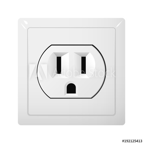 500x500 Single Electrical Socket Type B. Power Plug Vector Illustration