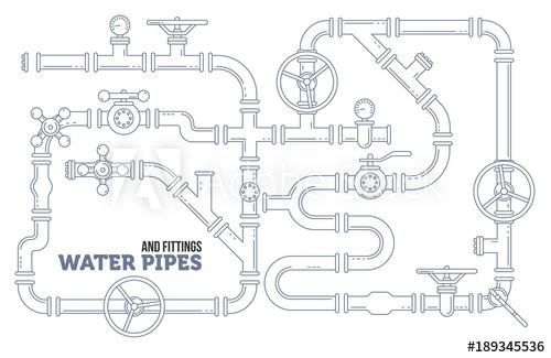 500x325 Elements Of A Plumbing. Pipes, Cranes. Linear Design Vector