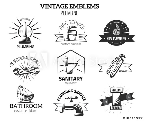 500x417 Plumbing Business Labels In Vintage Style For Logos. Home Repair