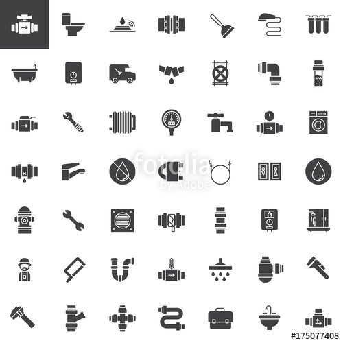 500x500 Plumbing Vector Icons Set, Modern Solid Symbol Collection, Filled