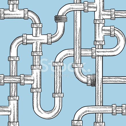 440x440 Seamless Plumbing Pipes Vector Background Stock Vector