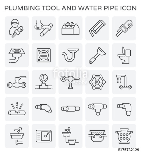 463x500 Vector Line Icon Of Plumbing Tool And Water Pipe. Stock Image And