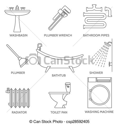 450x470 Vector Pipeline Plumbing Icons In Thin Line Style. Water And Pipe