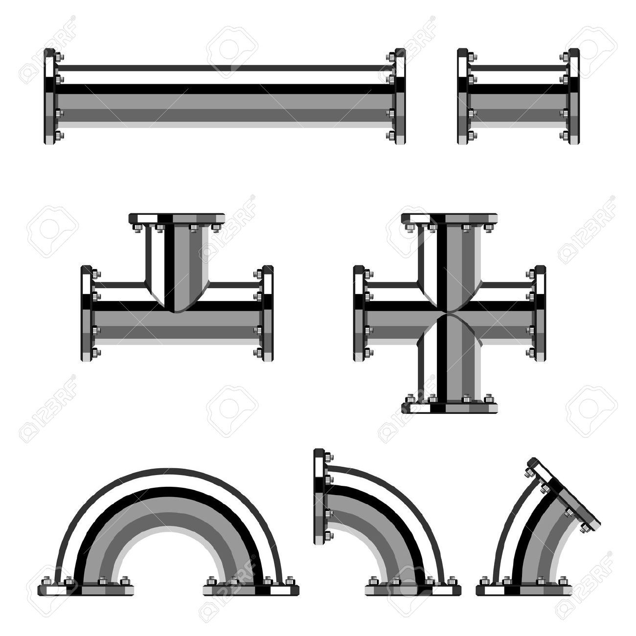 1300x1300 19587420 Vector Chrome Pipes With Flange Stock Vector Pipe