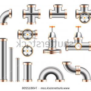 300x300 Different Types Plumbing Fittings Stock Vector Pipeline Elements