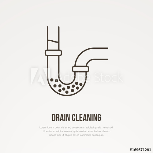 500x500 Drain Cleaning Flat Line Icon. Outline Sign Of Blocked Water Pipe