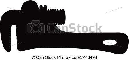 450x208 Vector. Silhouette Of Pipe Wrench Against White Background.