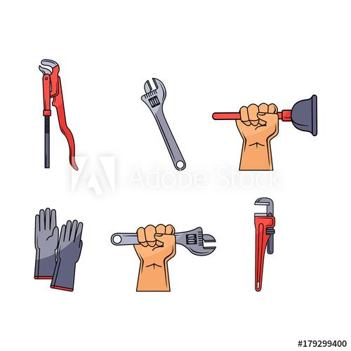 500x500 Vector Sketch Plumbing Tools And Equipment Set. Man Hand Holding