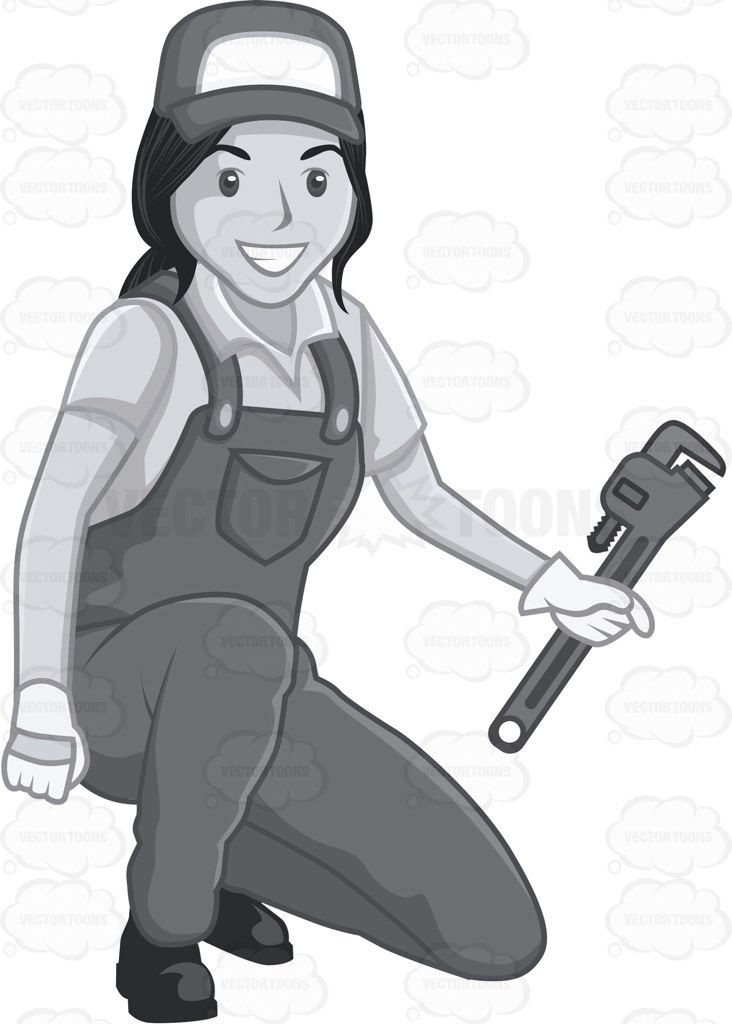 732x1024 Kneeling Female Plumber Holding A Pipe Wrench Vector