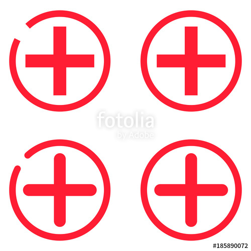 500x500 Plus Icon. Aid. Medical Icon. Add Icon. Set. 4 Red Plus In Circle