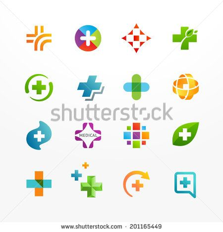 450x470 Vector Set Of Medical Logo Icons With Cross. Collection Of Signs