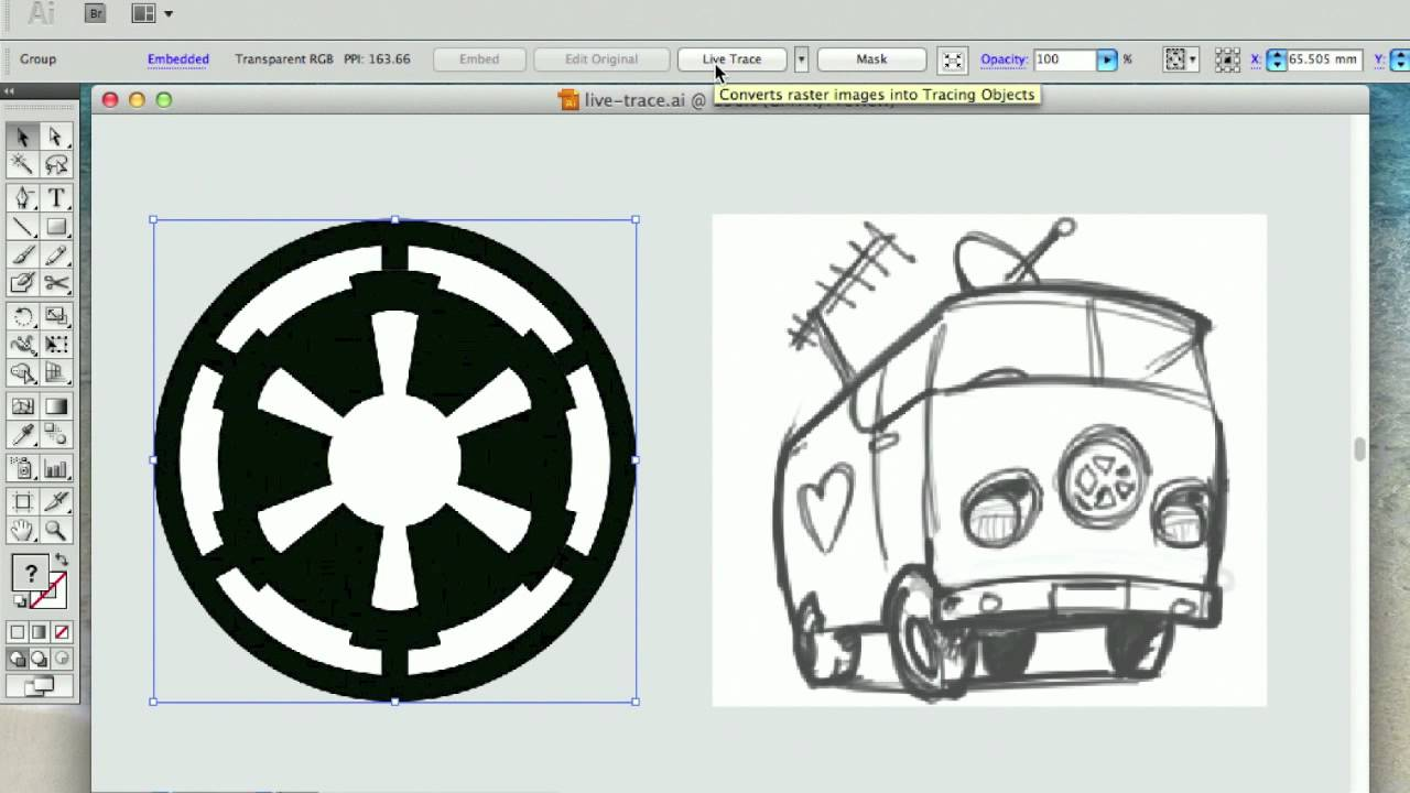 1280x720 Converting Jpegraster To Vector With Illustrator Live Trace