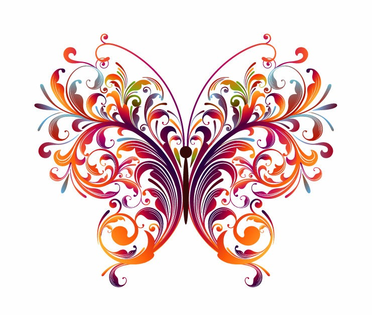 741x629 Abstract Floral Butterfly Vector Graphic Free Vector Graphics