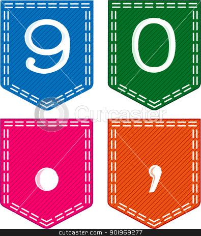 395x464 Pocket Numbers Stock Vector