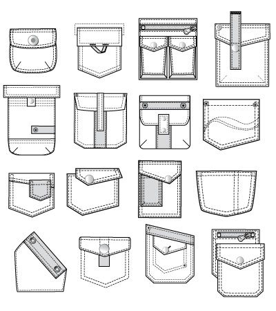 400x450 Set Of Vector Pockets Kidsfashionvector Cute Vector Art For