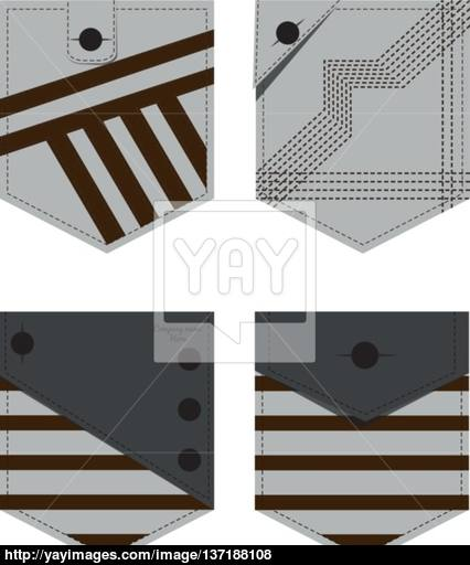 426x512 Denim Jeans Pocket. Vector Eps File Fully Layered And Easy To Edit