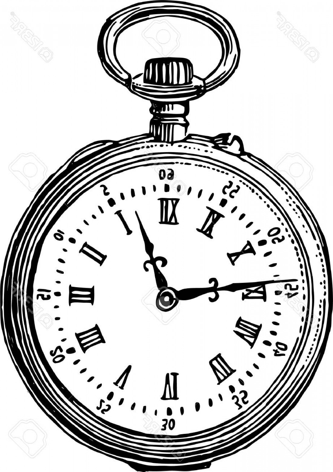 1102x1560 Photostock Vector Drawing Of A Vintage Pocket Watch Rongholland