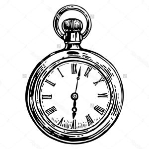 300x300 Pocket Watch Line Drawing Antique Pocket Watch Vector Vintage