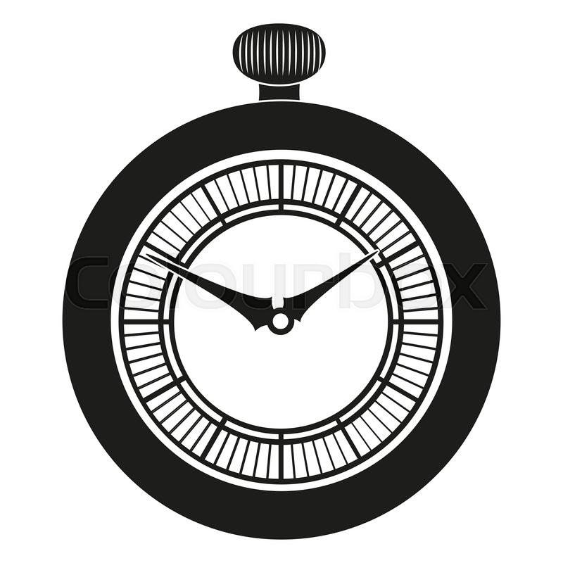 800x800 Pocket Watch Silhouette Isolated On White Background Stock